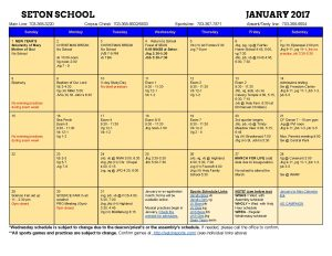 Seton Calendar January 2017