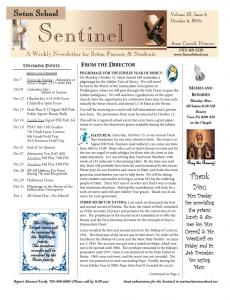 Sentinel Newsletter Cover