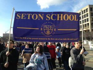 Pro-life students representing Seton Catholic High School in Manassas VA