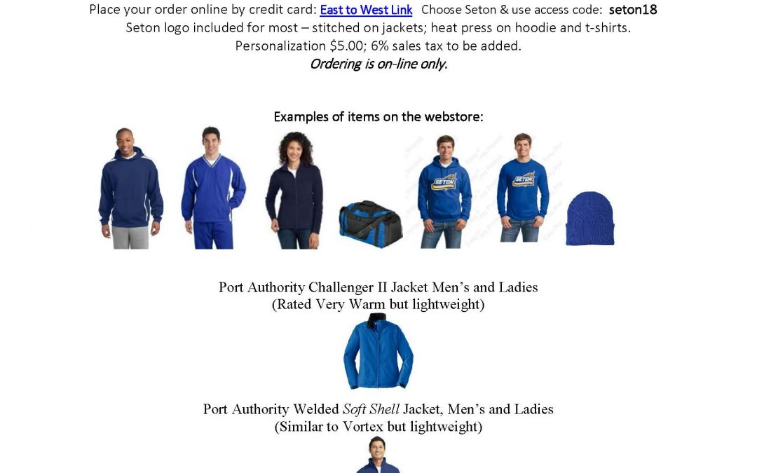Dec East to West Seton Apparel Order