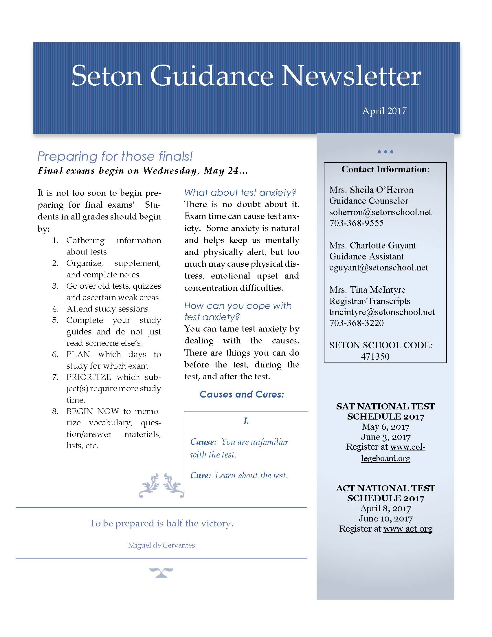 April 2017 Guidance Newsletter
