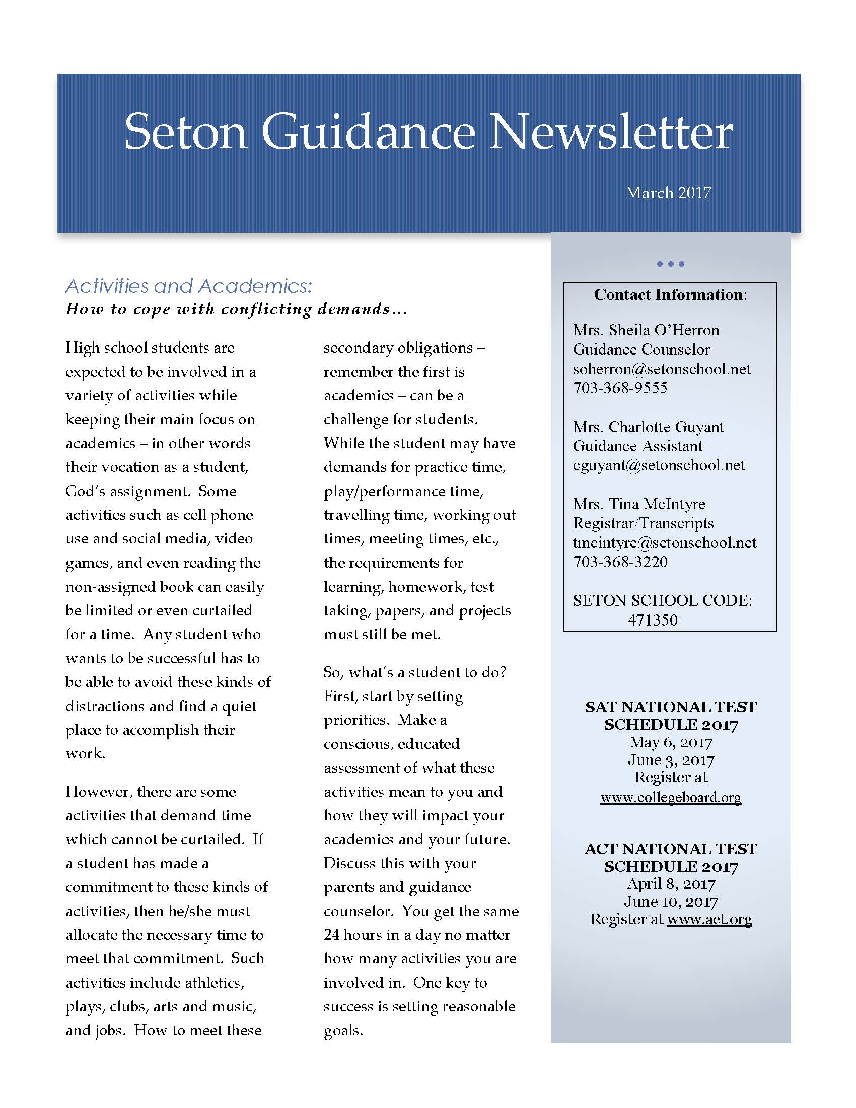 March 2017 Guidance Newsletter