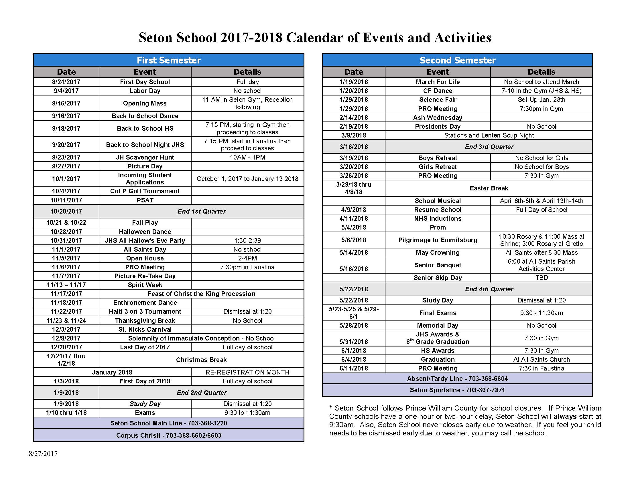 Calendar Activities 2018 : Academic calendar seton school manassas
