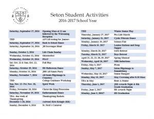 Seton School Student Activities Calendar