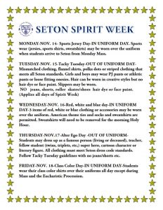 Seton Spirit Week Flyer