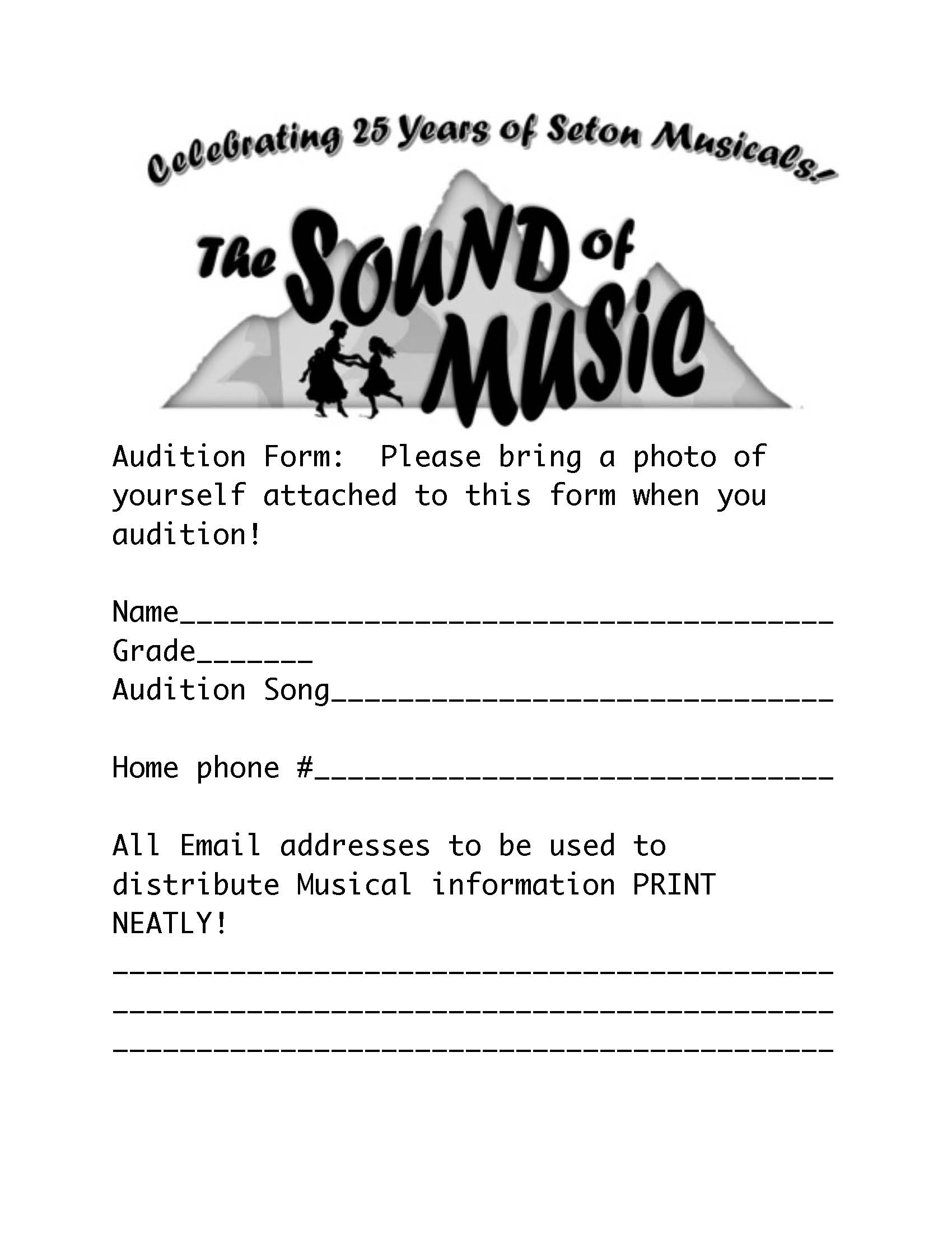 The Sound of Music Auditions – Audition Form