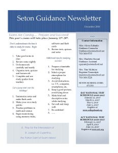 Seton Guidance Newsletter December