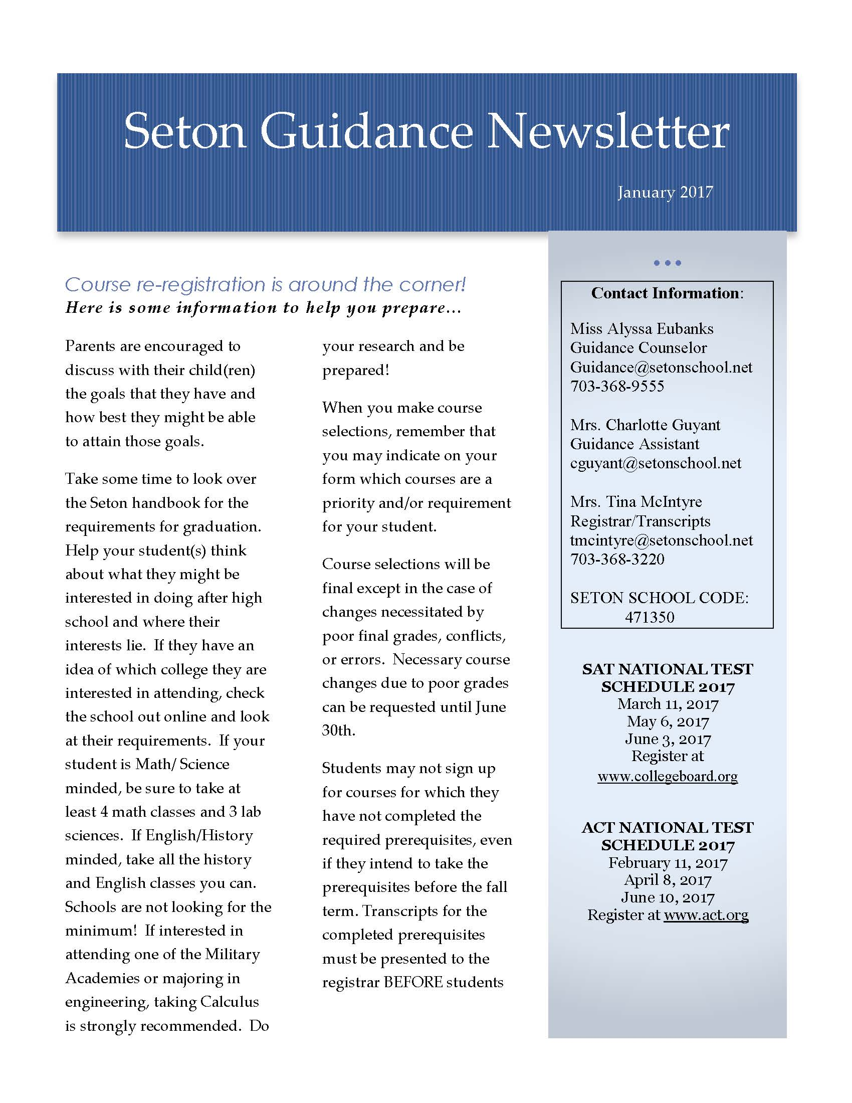 January 2017 Guidance Newsletter