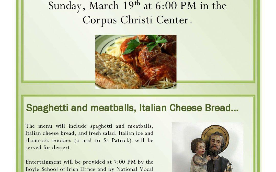 1st Annual St. Joseph's Spaghetti Supper