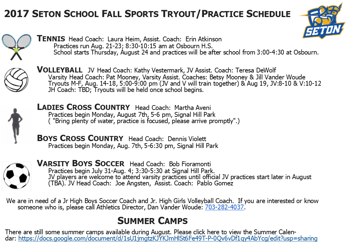 2017 Fall Sports Tryout/Practice Schedule | Seton School Manassas