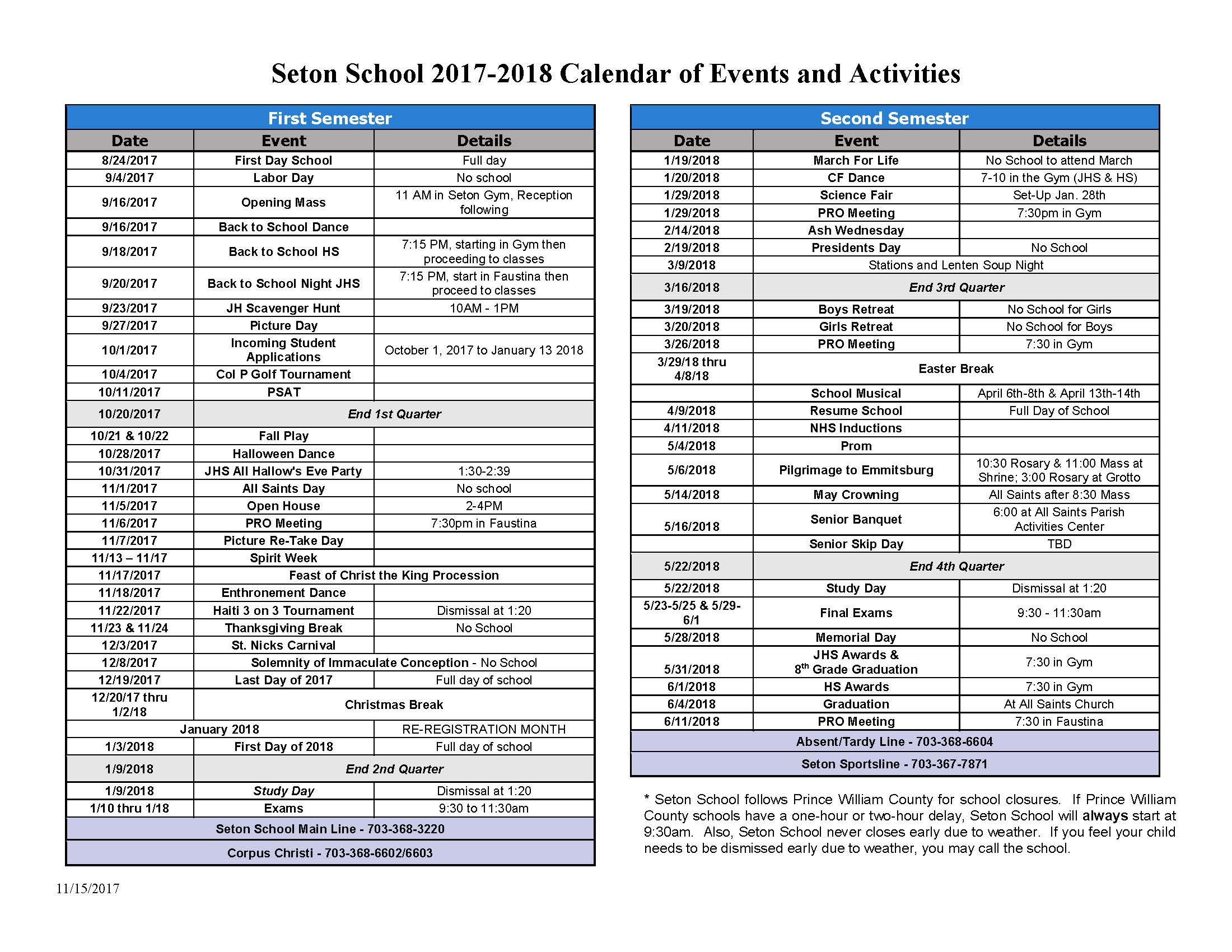 seton school calendar of events and activities