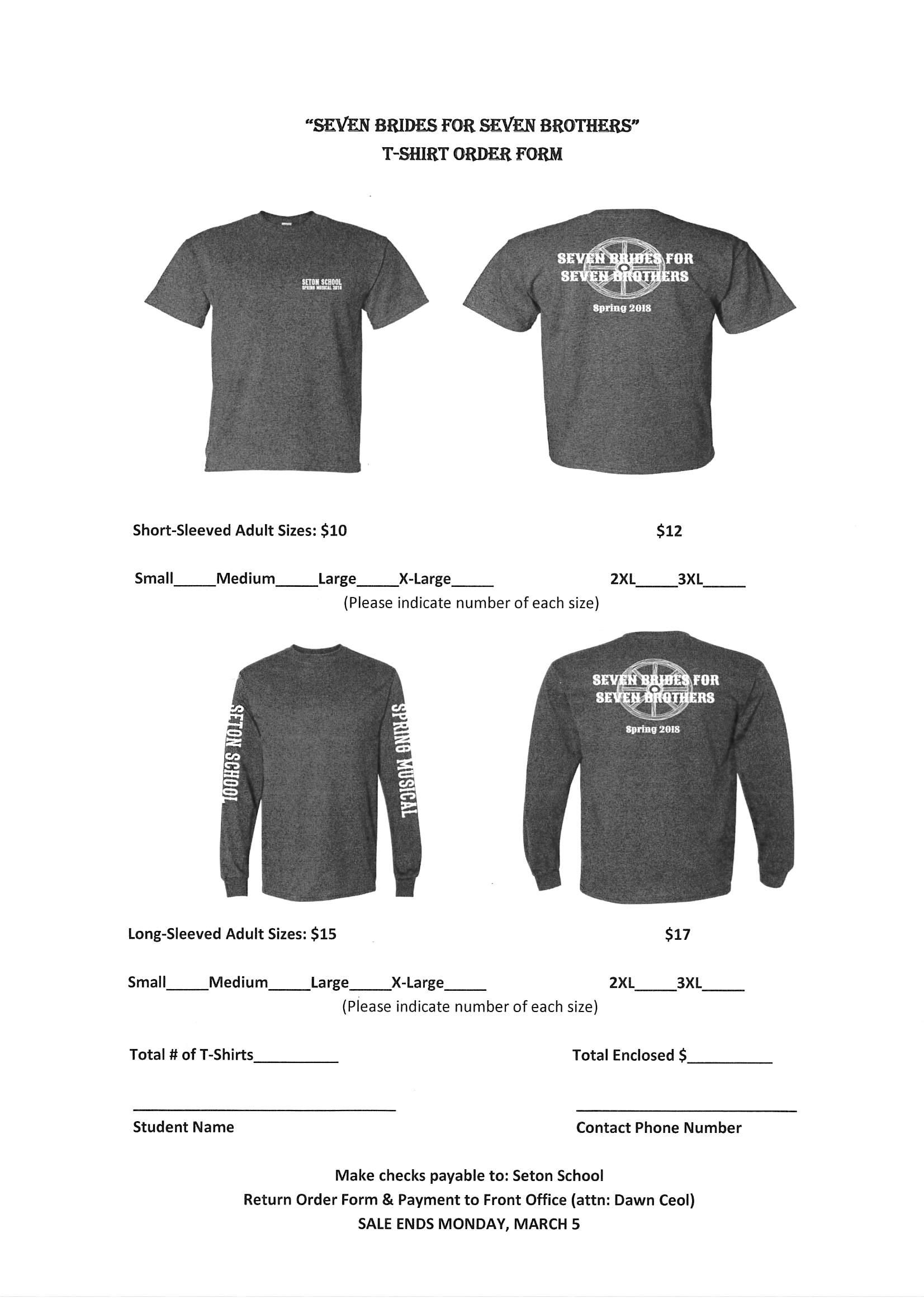T Shirt Order Form | Musical T Shirt Order Form Final Seton School Manassas