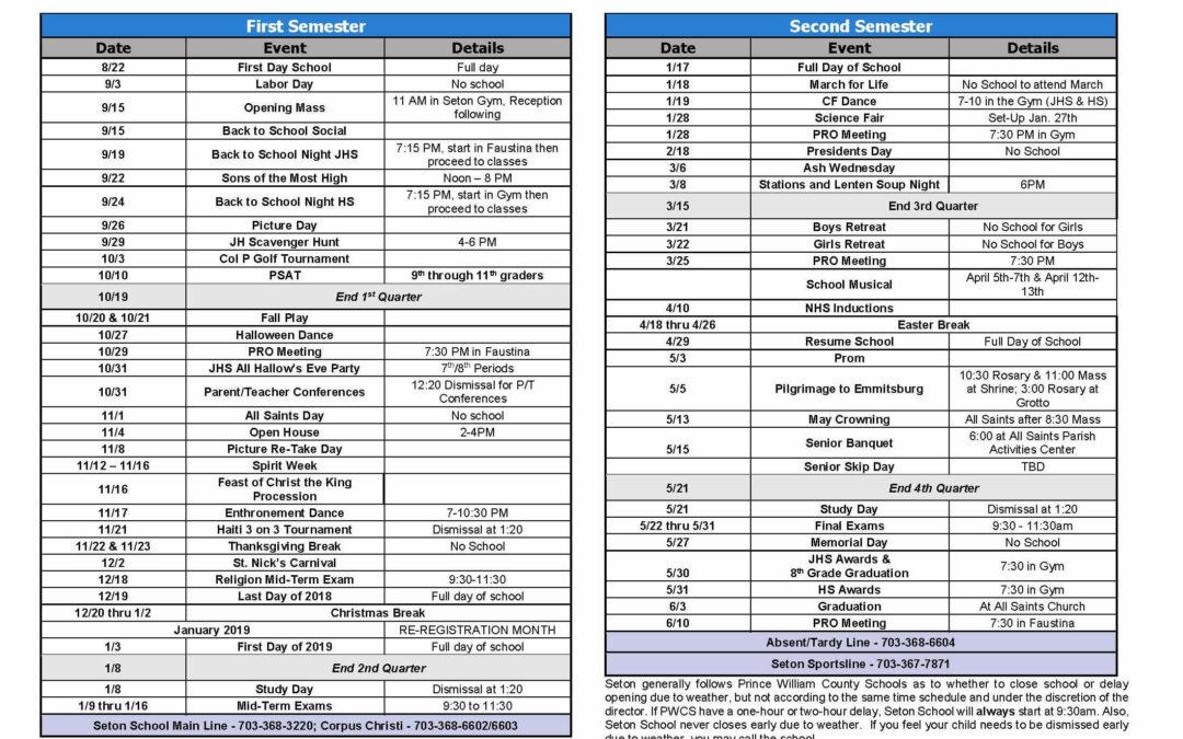 2018-2019 Seton School Calendar of Events and Activities