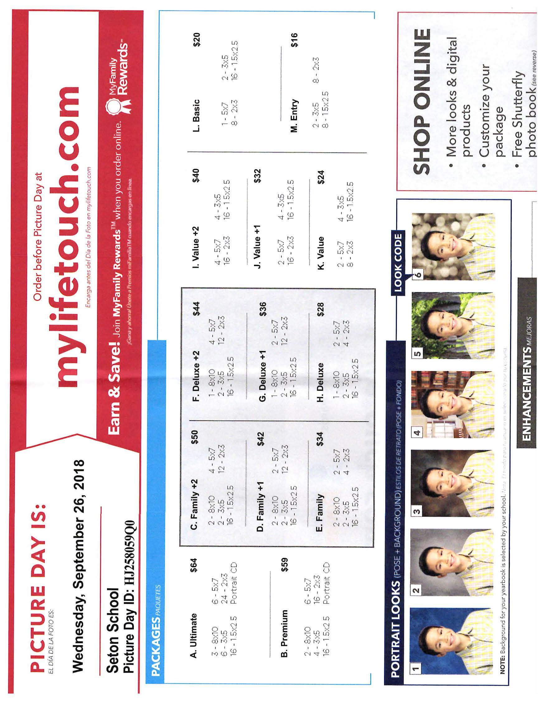 picture day lifetouch order form page 1 seton school manassas