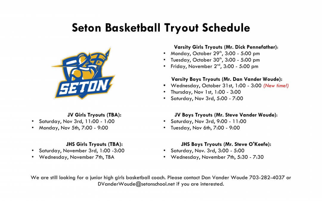 Basketball Tryout Schedule