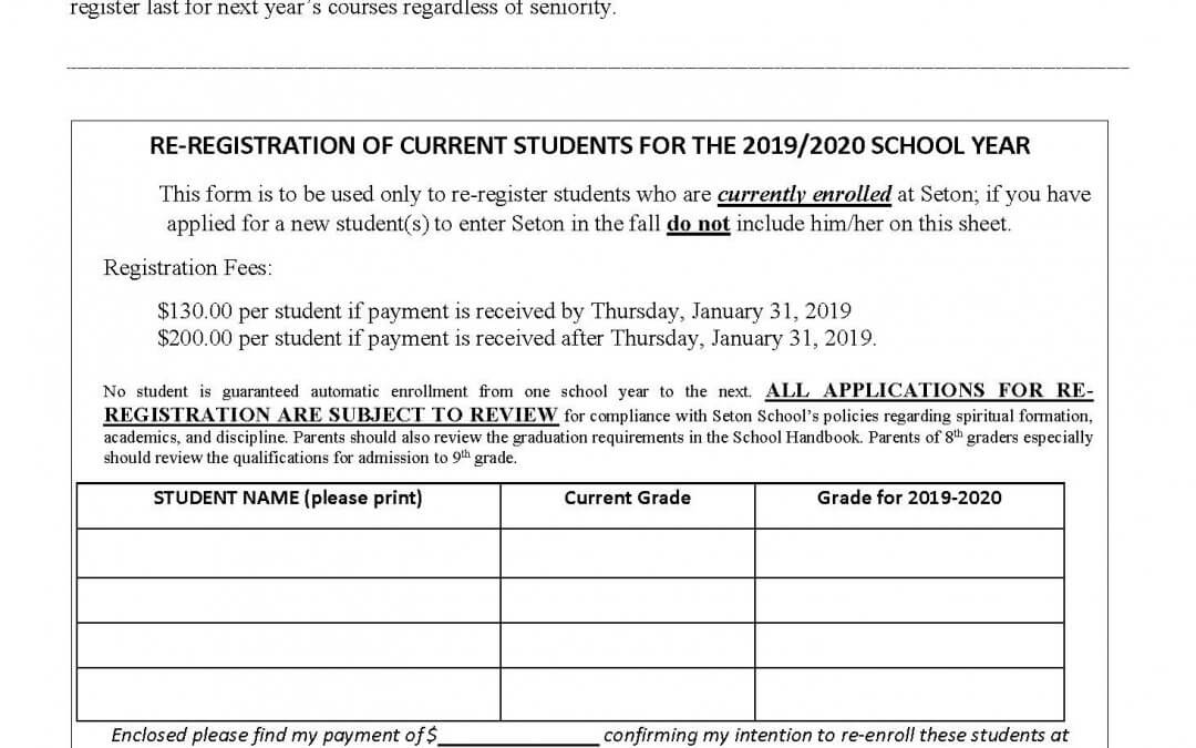 Re-Registration for 2019-2020 School Year
