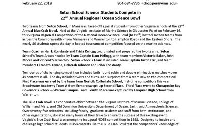 Seton School Science Students Compete in 22nd Annual Regional Ocean Science Bowl