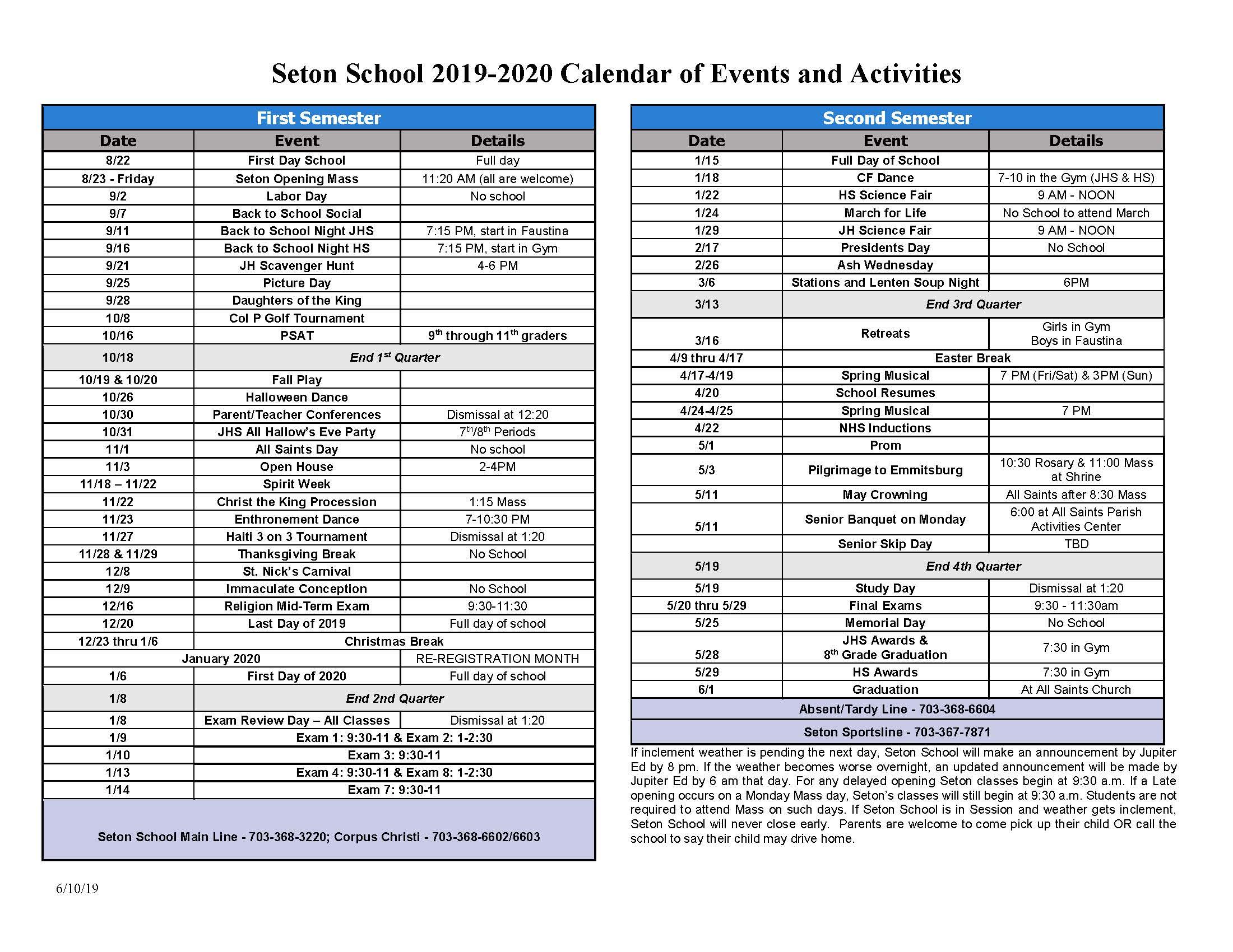 Event Calendar 2020 Events Calendar   Seton School Manassas